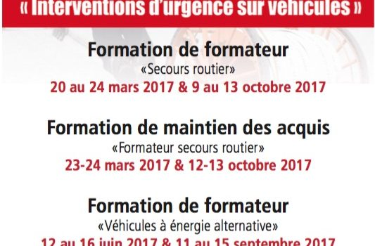 Formations de formateurs VEA, SR : les stages 2017 du SDIS 86