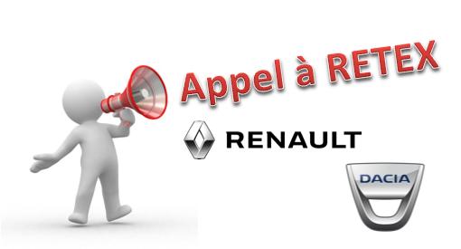 Appel à Retex sur des AVP impliquant des véhicules Renault et Dacia